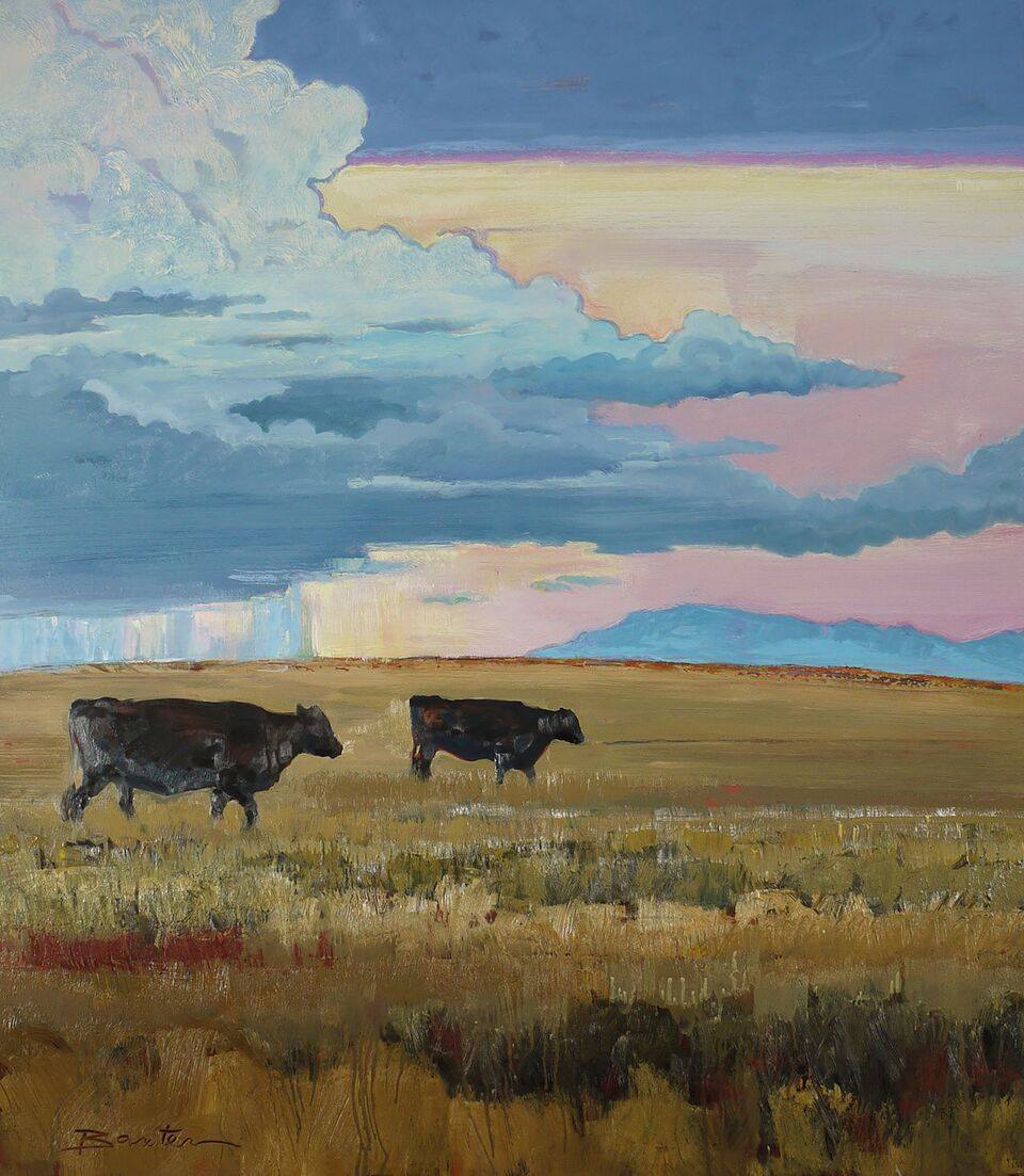 Dusk, Two Black Cows by Mary Baxter
